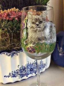 Grey or Russian Blue Cat Glasses Drinkware