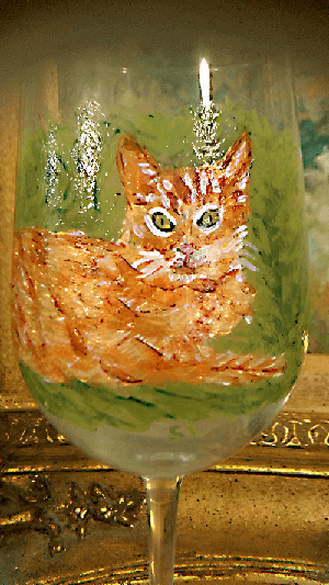 Orange Tabby Wine Glasses Hand painted