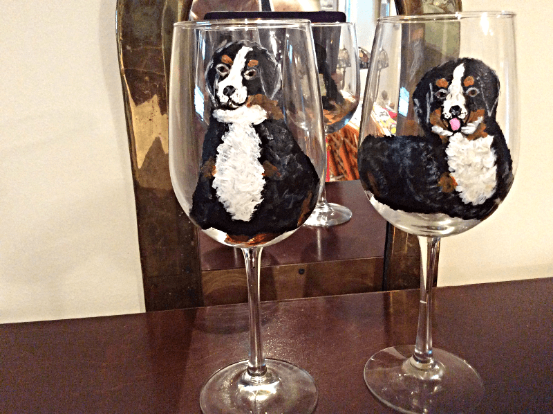 Border Collie Dog Wine Glasses