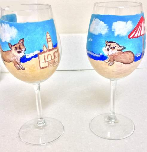 Dog Beach Wine Glasses