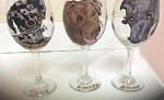Hand Painted Dog Wine Glasses