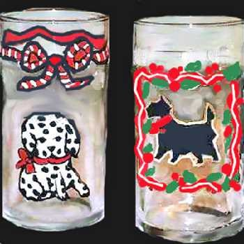 Hand Painted Puppies on Dog Drinking Glasses