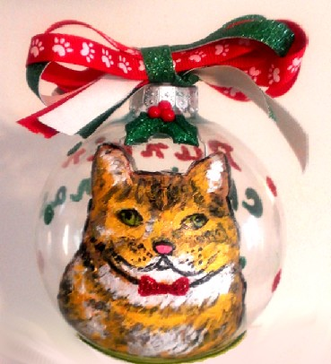 Christmas Cat Ornaments Hand painted