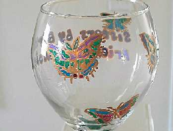 Hand painted Wine Glass In Butterfly Design