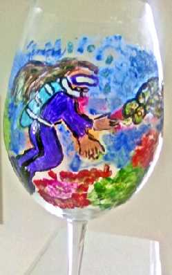 Hand painted Wine Glasses  Scuba Diver
