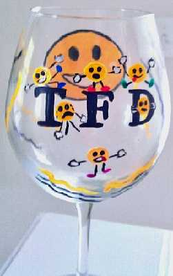 Customised Wine Glasses of Smiley Faces