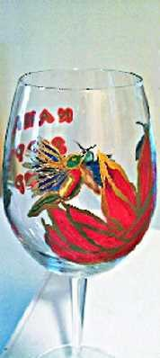 Hand painted Hummingbird Wine Glass