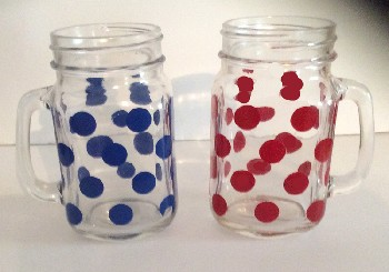 Mason Jars Hand painted In Poka Dots And Stripes