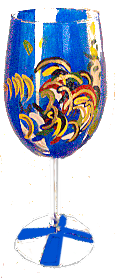 Painted Wine Glasses, Colorful Rooster Paintings