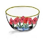 Hand painted Rich Red Amaryllis Bowls