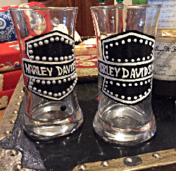 Hand painted Harley Davidson  Beer Glass Or Coffee  Mug