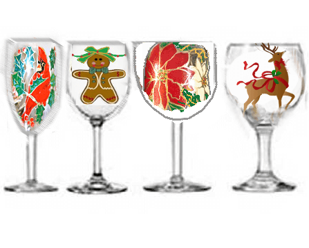 Christmas Wine Glasses Traditional Designs