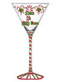 Candy Cane Christmas Martini Glass