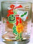 Hand painted Christmas Drinkware Turtle Glass