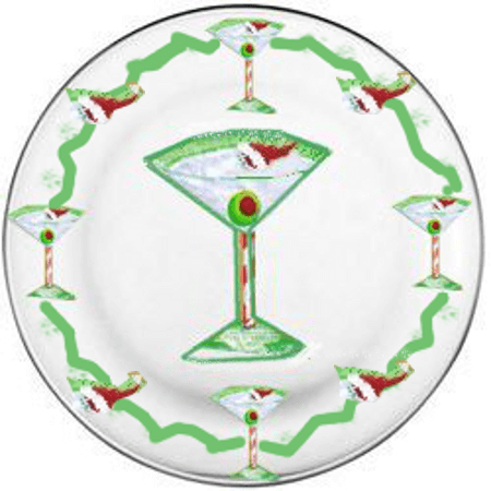 Christmas Dinner Plates With Martini Glass