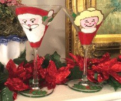 Santa (Mr. and Mrs. Claus) Martini Glasses