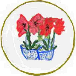Salad Plates In Amaryllis Flowers
