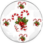Hand painted Christmas Plates With Candy Canes