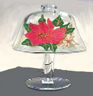 Hand painted Poinsettia Christmas Cheese Dome