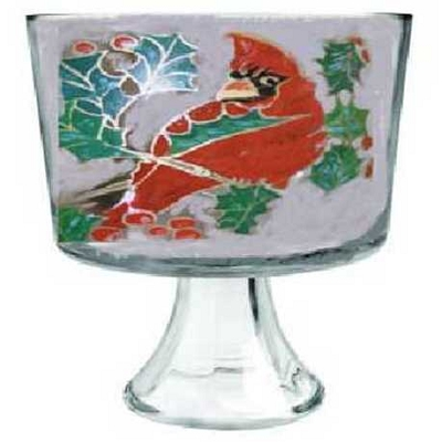Trifle Bowl With Christmas Red Bird