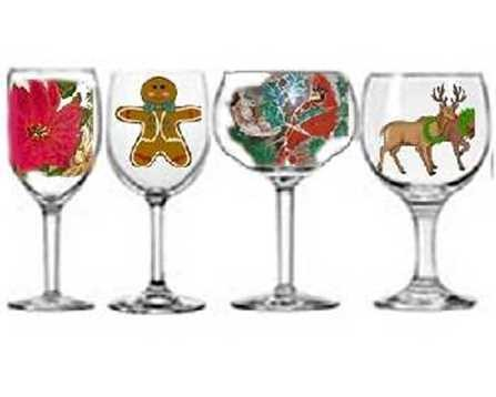 Hand painted Holiday Wine Glasses In Joyous Christmas Designs