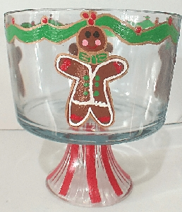 Christmas Hand painted Gingerbread Trifle Bowl