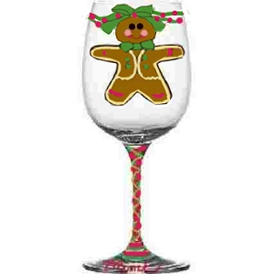 Hand painted Gingerbread Christmas Wine Glasses