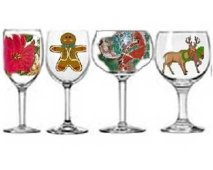 Christmas Wine Glasses, Christmas Drinking Glasses