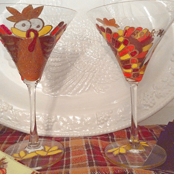 Turkey Glasses Hand painted To Stut Their Stuff