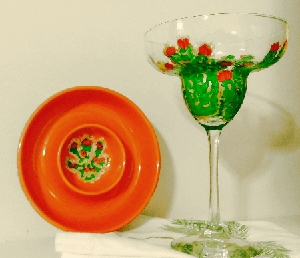 Margarita Glasses Hand painted Bright Green Cactus's
