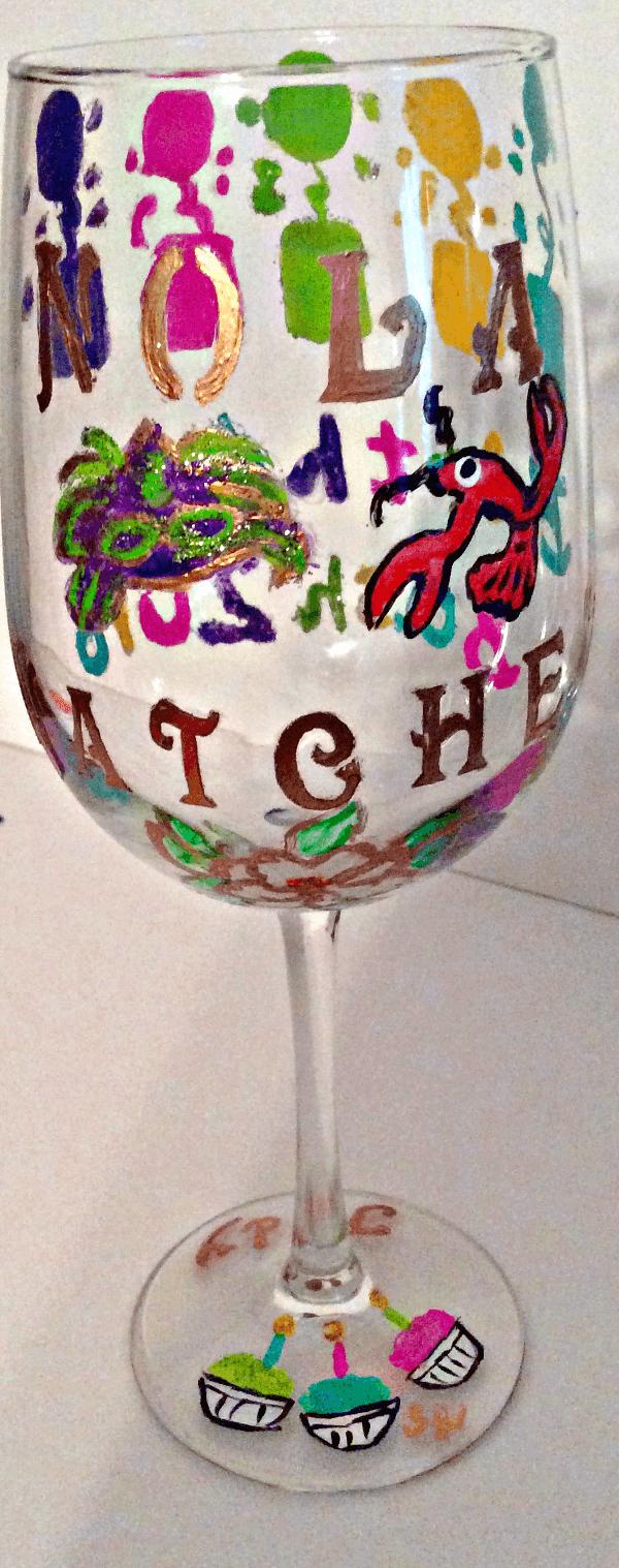 Birthday Wine Glasses Hand Painted