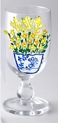 Hand painted Ice Water Tea Glasses in Yellow Wildflower
