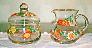 Hand painted Sugar and Creamer Set Georgia Peaches