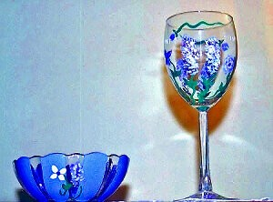 Hand painted Wine Glasses Purple Wisteria Blossoms