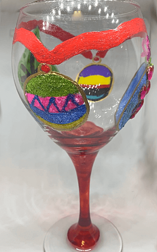 Christmas Wine Glasses With Jeweled Ornaments