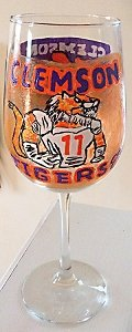 Hand painted Clemson University Football  Glasses