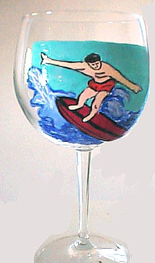 Surfer Wine Glasses-Sports Glasses