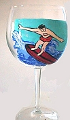 Hand painted Surfer Wine Glasses Sports Glasses