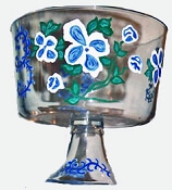 Hand painted Blue and White Trifle Bowl
