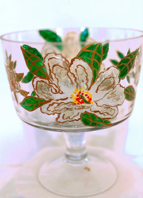 Hand painted Magnolia Trifle Bowl