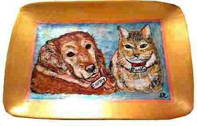 Hand painted Dog Platter with two pets