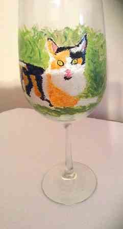 Hand Painted Calico Cat Wine Glasses Clearly Susan