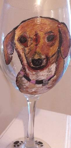 Hand painted Dachshund Wine Glasses