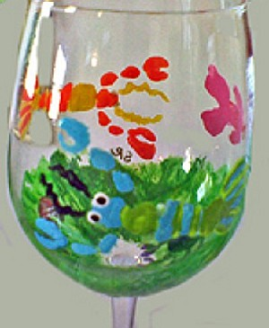 Painted wine glasses Of A Lobster
