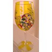 Yellow painted Rooster Wine Glass