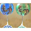 Painted Wine Glasses Roosters