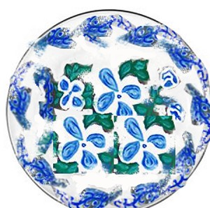 Hand painted Salad Plates In Blue and White Savoy Design