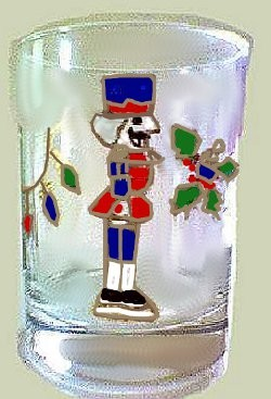 Hand painted Christmas Nutcracker Glass