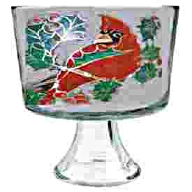 Hand painted Christmas Red Bird Trifle Bowl