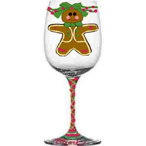 Christmas Wine Glasses of Gingerbread Men